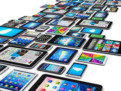 verschiedene mobile devices, verschiedenster Größen, wie z. B. Tablets und Smartphones