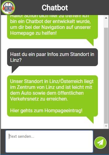 Chatbot für die Webseite - Ferialpraktikum bei solvistas